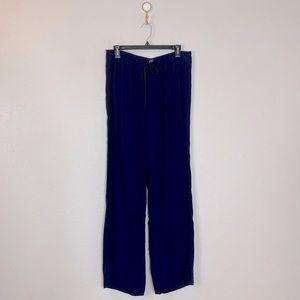 Staud Women's High Waist Drawstring Wide Leg Pants in Blue
